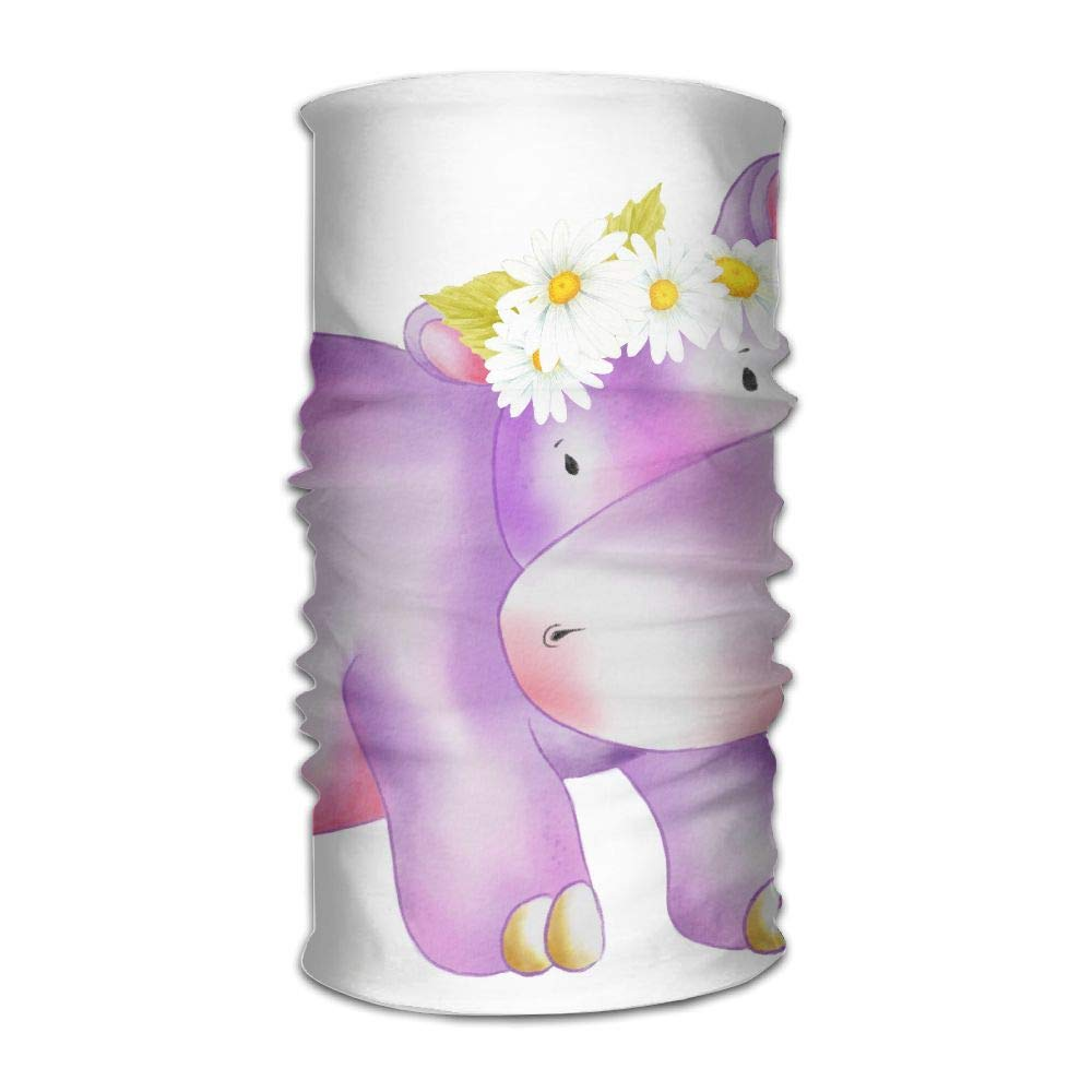 Hippo with Flowers Unisex Fashion Quick-Drying Microfiber Headdress Outdoor Magic Scarf Neck Neck Scarf Hooded Scarf Super Soft Handle