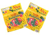 Set of 2 Packs of Assorted Colors and Sizes Balloons Over 120 Total