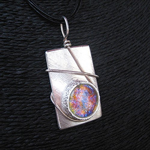 Mirror Ruby Sapphire Dichroic Glass & Silver Necklace