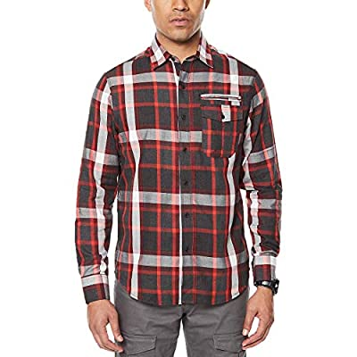 Sean John Black Mens Plaid Pocket Button Down Shirt