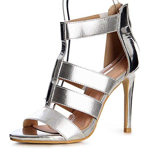 topschuhe24 - Zapatos de vestir para mujer plateado mate