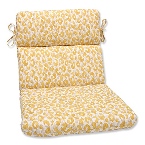 Pillow Perfect Outdoor/Indoor Snow Leopard Sunburst Rounded Corners Chair Cushion