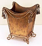 TRASH CANS - BUCKINGHAM PALACE TWISTED SWAG & TASSEL WASTE BASKET - GOLD