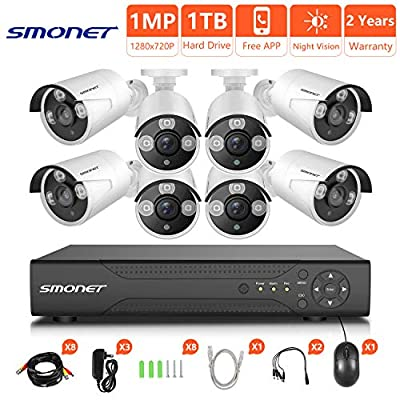 SMONET [2018 New HD Security Camera System, 8CH 1080N Home Security Camera System(1TB Hard Drive),8pcs HD Security Cameras,Video Surveillance System for Easy Remote Monitoring,Super Night Vision from SMONET