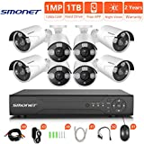[2018 New] HD Security Camera System,SMONET 8CH 1080N Home Security Camera System(1TB Hard Drive),8pcs HD Security Cameras,Video Surveillance System for Easy Remote Monitoring,Super Night Vision
