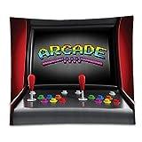 Beshowereb Fleece Throw Blanket Video Games Set Arc Machine Retro Gaming Fun Joystick Buttons Vintage Electronic Decor with Multi