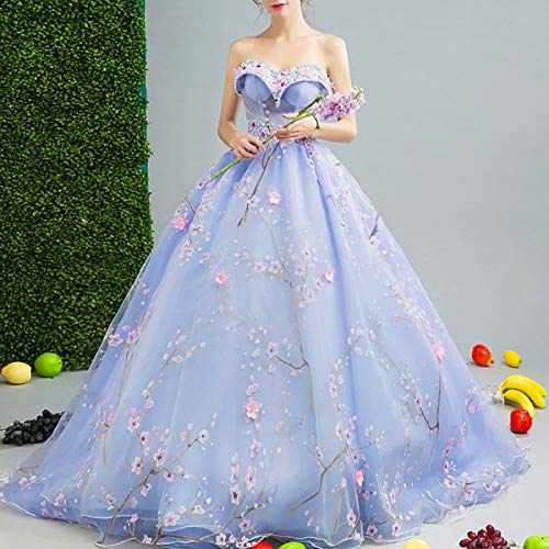 Women's Beaded Appliquer Tulle Prom Gown Embroidery Flower Dress Sweetheart Off Shoulder 16 Quinceanera Dresses,Purple,M ()