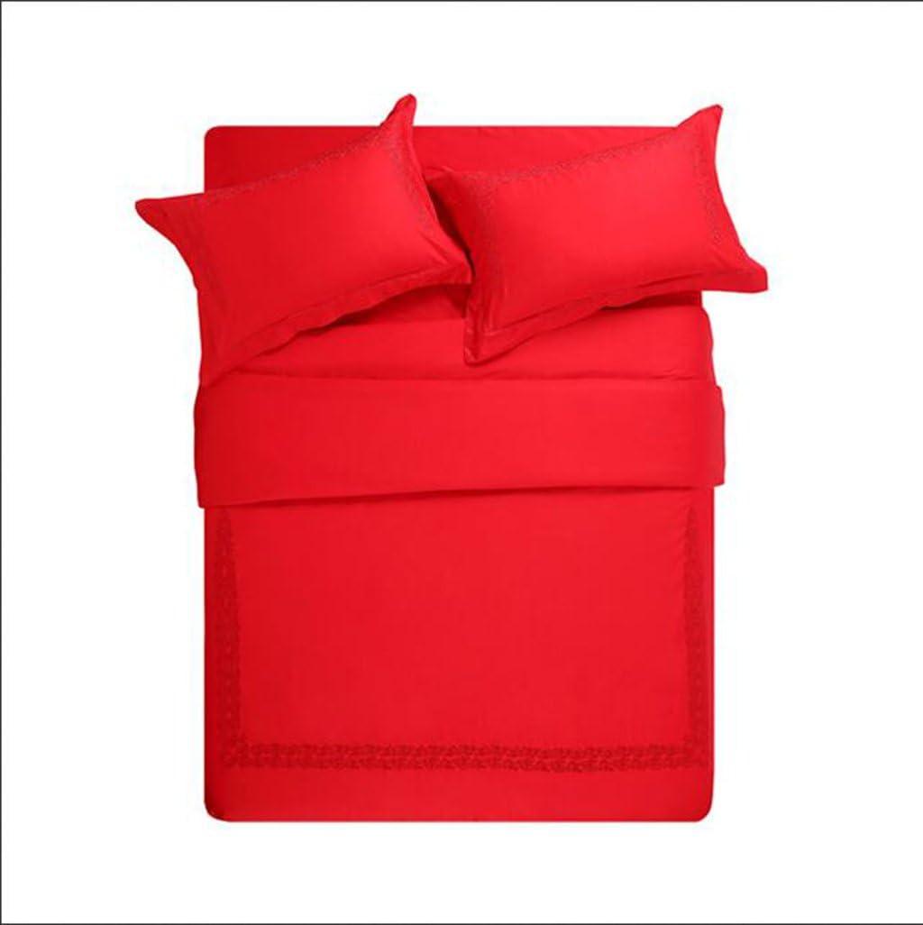 レッドデビットカバーセットアイアンラグジュアリー100%コットン刺繍パターンデザインコンフォートコットン寝具イージーケア(ダブル、キング),220*240Cm