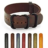 StrapsCo Distressed Vintage Style Leather G10 Nato Zulu Watch Strap w/ Black Rings