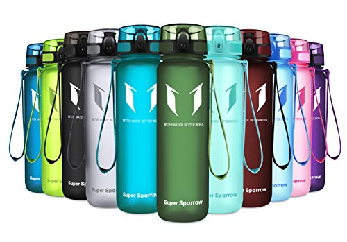 Super Sparrow Sports Water Bottle - Eco Friendly & BPA-Free Plastic - Fast Water Flow, Flip Top, Opens with 1-Click - Reusable with Leak-Proof Lid (Sage, 350ml-12oz) ()