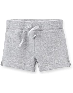 Baby Girls French Terry Shorts (Heather Grey, 3 Months)