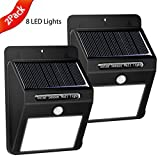 Solar Powered LED Wall Lights Wireless Motion Detector Sensor Outdoor Security Night Light for Deck Patio Garden Fencing Pool Driveway Garage Outside Lightning-2 Packs