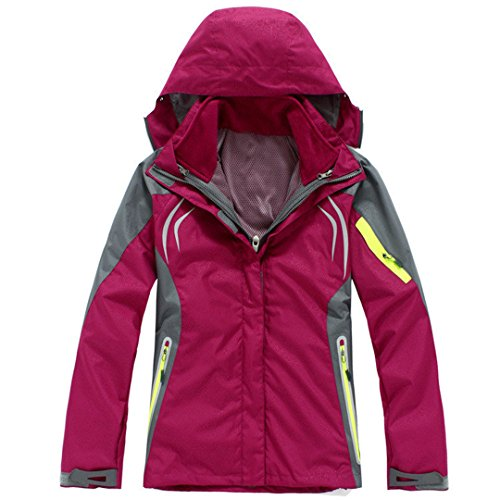 Hiking Clothing Outdoor Sport Windbreaker Skate Rain Coat Winter Ski Tech 3In1 Rose Red L (Tex Pant Rain Gore Tech)