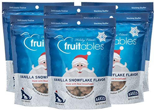 Fruitables Vanilla Snowflake Crunchy Dog Treats, 7 Ounce - Pack of 6