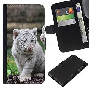 [Neutron-Star] Modelo colorido cuero de la carpeta del tirón del caso cubierta piel Holster Funda protecció Para Sony Xperia Z4v / Sony Xperia Z4 / E6508 [White Tiger Cub Puppy Cute]