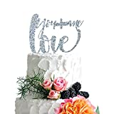P Lab YOU + ME = Love Romantic Wedding Cake Topper Acrylic Decoration for Special Event Silver Glitter