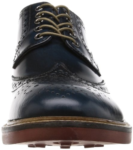 Base London Zapatos Hombre HI SHINE AzulE Perforado Laces Blu