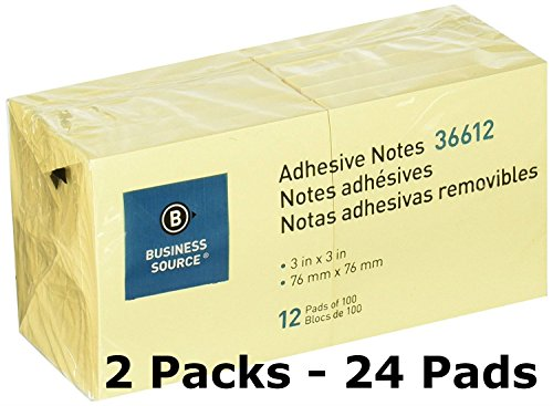 Business Source 3 x 3 Inches Adhesive Notes - Yellow - Pack of 12 - 100 Sheets/Pad - Silver Stores City Galleria