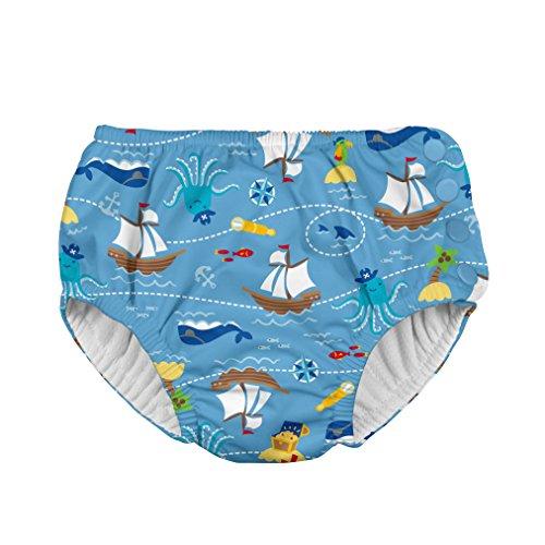 i play. Baby Boys' Snap Reusable Absorbent Swim Diaper-mm, Light Blue Pirate Ship, 24mo