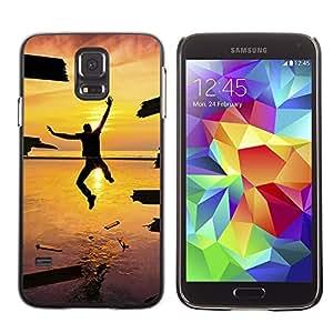Caucho caso de Shell duro de la cubierta de accesorios de protección BY RAYDREAMMM - Samsung Galaxy S5 SM-G900 - Design Jump Happiness Sunset