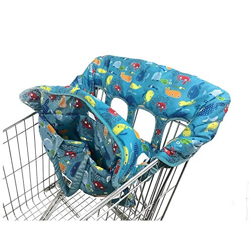 (Per 2-in-1 Shopping Cart Cover Polka Dot High Chair Cover Protective Cushion Full Safety Harness Universal Fit Foldable and Washable)
