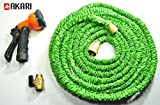 Akari® 25 Ft Expandable Garden Hose with Brass Connector & Spray Nozzle [Bundle] , Super Flexible, Solid Brass Ends, Strongest, No Kink, High Qulaity , Durable , Long Lasting