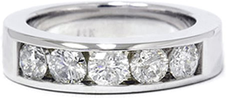 Men/'s Diamond 10K White /& Rose Gold Over 1.25ct Wedding Band Ring Channel Set
