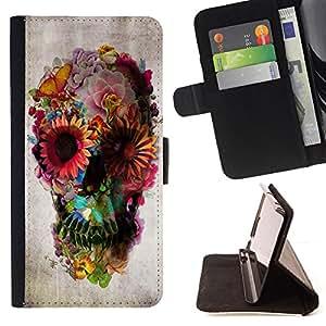 /Skull Market/ - Skull Floral Deep Metal Spring Death Deep For Samsung Galaxy S6 EDGE - Caja de la carpeta del tir??n del cuero de la PU [con ranuras para tarjetas y cierre de solapa magn? -