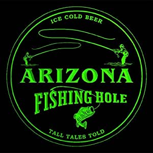 4x ccqx2003-g ARIZONA Fly Fishing Hole Ale Bar Beer 3D Engraved Drink Coasters