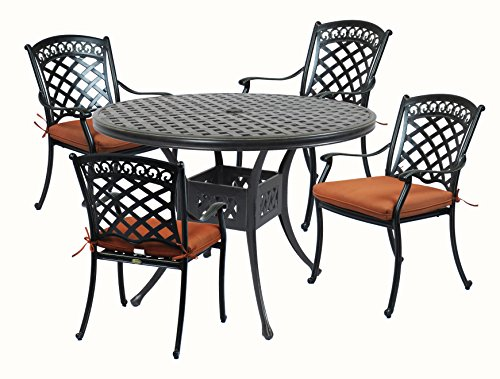 Basketweave Patio Chair (Summerset Casual St. Tropez Aluminum 5 Piece 42 in. Round Patio Dining Set)