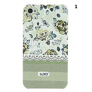 Green Base Lace Series Flower Pattern Relief Back Case for iPhone 4/4S(Assorted Color) , 1