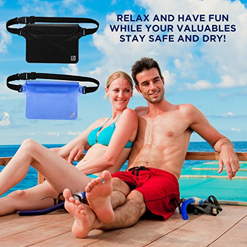 Waterproof Pouch with Waist Strap (2 Pack) | Best Way to Keep Your Phone and Valuables Safe and Dry | Perfect for Boating Swimming Snorkeling Kayaking Beach Pool Water Parks