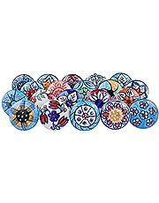 Vintage Look Bloem Diverse Keramische Knoppen Deur Handvat Kast Lade Kast Trek Keramische Deurknoppen voor Kasten, Kasten en Laden (Plat) 10 Stuks