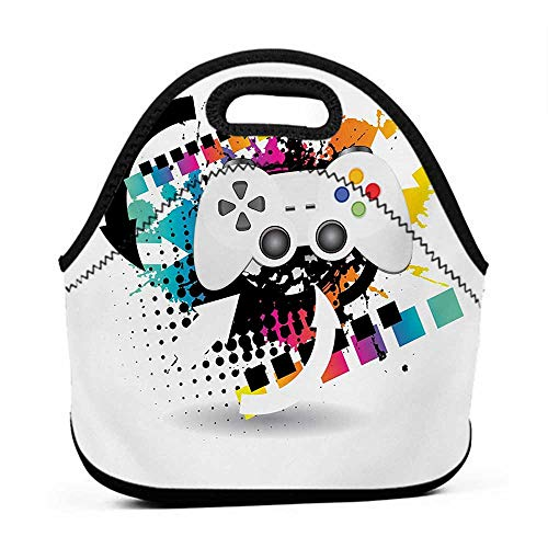 Large Size Reusable Lunch Handbag Gamer,Modern Console Game Comtroller with Halftone Motif and Color Splashes Background,Multicolor,lunch bag set for men