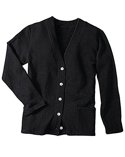 (National Fleece Cardigan, Black, Petite XL)