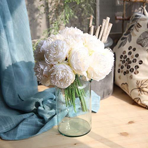 Hivot Artificial Flowers,Bridal Bouquet Bridal Wedding Party Hydrangea Home Decor Craft Silk Fake Peony ()