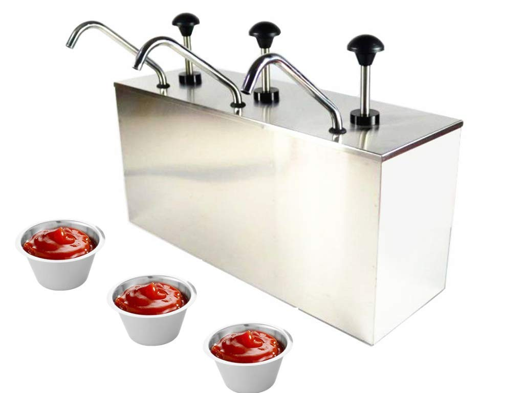 KUNHEWUHUA 3 Bucket Sauce Dispenser Pump Stainless Steel Condiment Pump Station for Salad Jam Seasoning Sauce Squeeze 3 gal ...