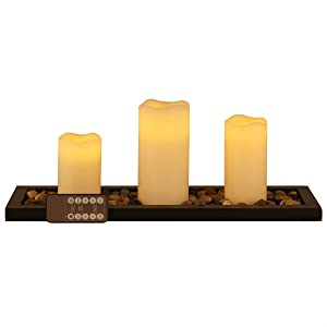Flameless Led Candle Gift Set of 3 Pillar Candles, Candlescape Led Tea Light Set with Decorative Pebbles Rocks and Wood Tray, with Remote Timer, Gift for Home, Wedding, Party, Room, Spa