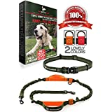 Pet Dreamland Hands Free Leash - Medium to Large Dogs (up to 150lbs) - Running/Hiking/Dog Training - Heavy Duty Extra Long Bungee Lead - Waist Leashes for Dogs (One Dog, Khaki & Orange)