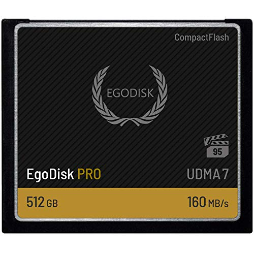 (EgoDisk PRO 512GB CompactFlash VPG-95 UDMA 7 Card, Read/Write Up to 160MB/s - 3 Year)