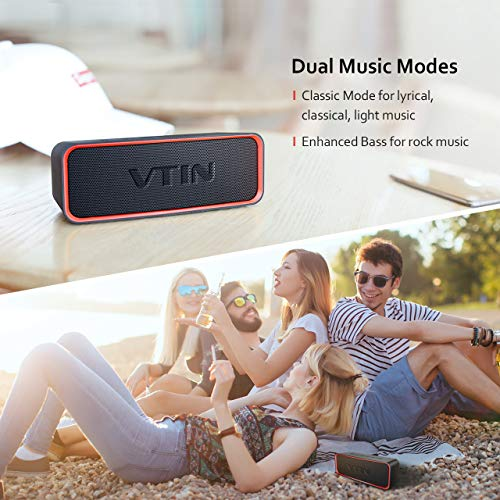 VTIN IPX6 Waterproof Portable Bluetooth Speaker with Enhanced Bass, HiFi-Tec, HD Sound, Support AUX in, Indoor/Outdoor Wireless Speaker for Smartphones, Waterproof Speaker for Party/Beach/Car/Dance by Vtin (Image #4)
