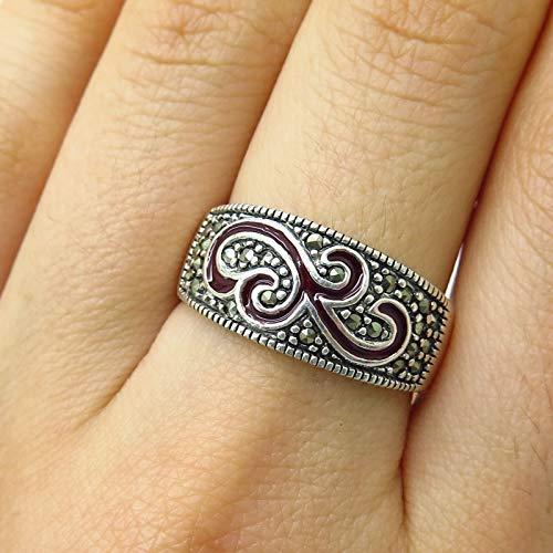 (925 Sterling Silver Marcasite Gemstone & Enamel Swirl Design Ring Size 8 Jewelry by Wholesale Charms )