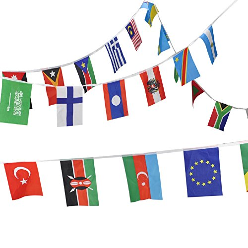 Pennant Shaped Flag - Aspire 8.2X5.5 inches String Of International Flags For Party Events Olympic Decorations, Festivals Flag Pennants - Up to 200 Counties-Multinations-42.6 feet