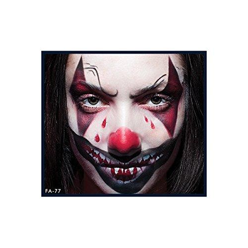 Clown Evil Makeup (European Body Art FA Makeup Airbrush Face Body Painting Stencils, FA0077 Evil)
