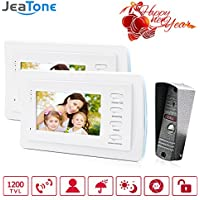 Jeatone 7 wired doorbell With Storage White Color HD Video Doorphone Intercom Systems 1200TVL Camera Home Security Kit 2V1