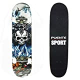 7 Plies Maple Double Kick Concave Deck Cool skull Grip Tape Skateboard for Primary/Intermediate