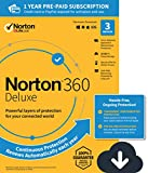 NEW Norton 360 Deluxe - Antivirus software for 3 Devices with Auto Renewal - Includes VPN, PC Cloud Backup & Dark Web Monitoring powered by LifeLock [PC/Mac/Mobile Download]