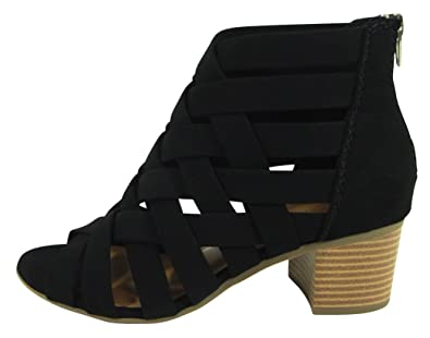 Women's Open Toe Crisscross Woven Lattice Back Zip Chunky Stacked Block Heel Ankle Bootie