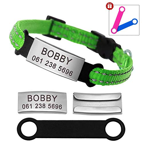 Didog Reflective Breakaway Custom Cat Collars with Stainless Steel Nameplate - No Noise Slideable Engraving ID Tag for Kitten Cats and Small Dogs,Green,XXS (Cat Reflective Id Tag)