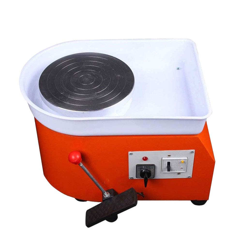 ZXMOTO Pottery Wheel Ceramic Molding Machine for Ceramic Work Clay Art Craft with Foot Pedal 110V Orange